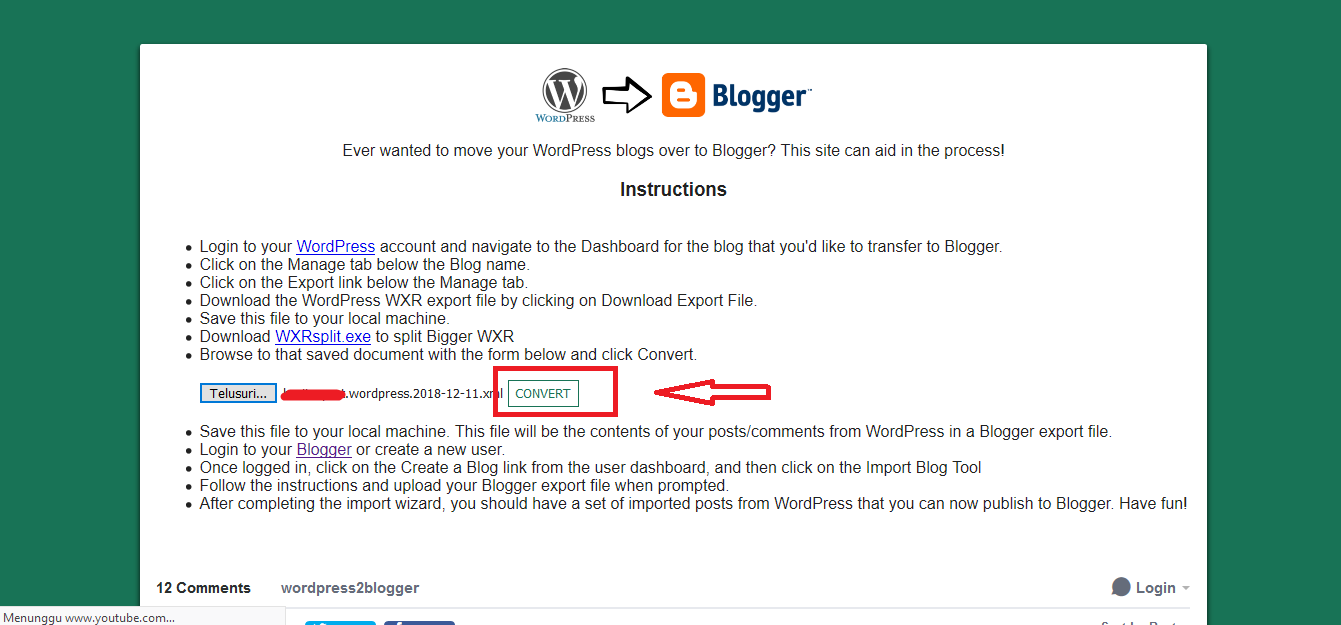 Cara Migrasi Dari Wordpress ke Blogger